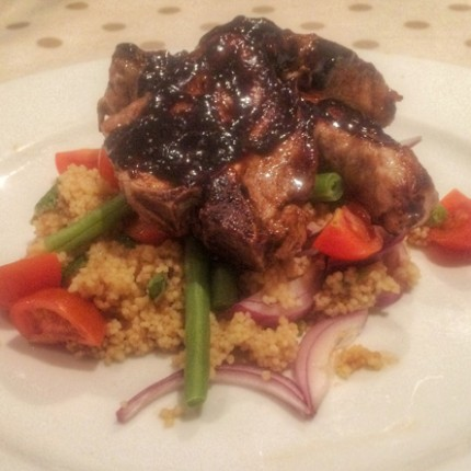 Figgy lamb chops with Spring Cous Cous