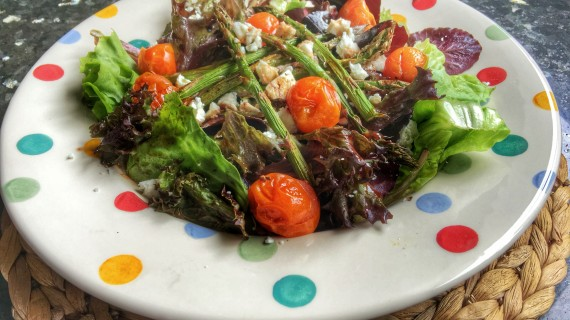 Roasted asparagus and tomato salad